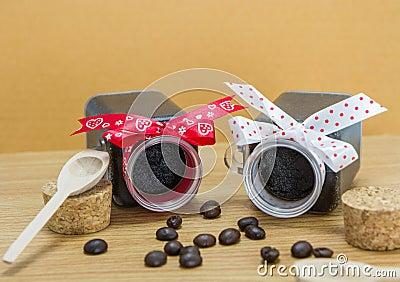 Handmade coffee scrub with coffee beans