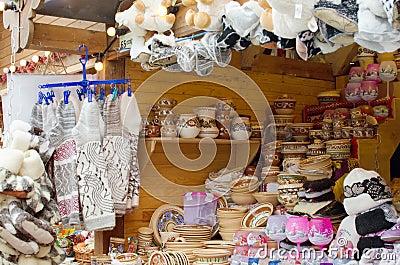 Handmade crafts on city market
