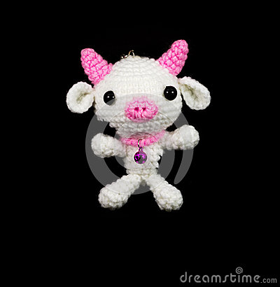 Handmade Crochet White Pig With Pink Nose Doll On Black ...