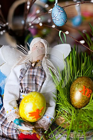 Handmade doll in at Easter