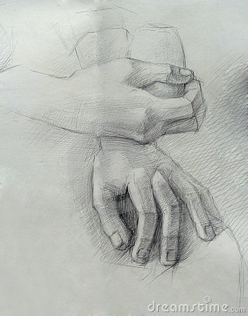 A handmade drawing of hands