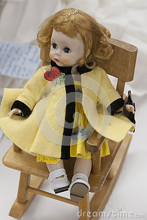 Handmade Girl Doll on Rocking Chair