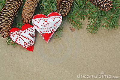 Handmade heart ornaments