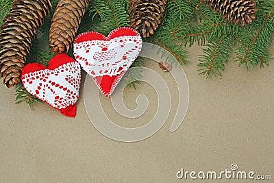 Handmade heart ornaments