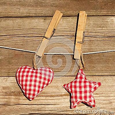 Handmade heart and star