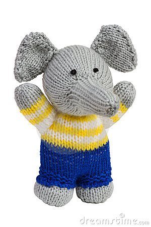 Handmade knit toy, elephant