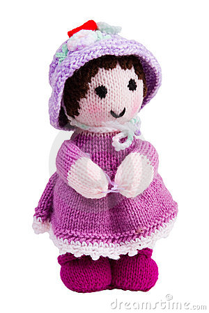 Handmade knit toy, pink doll