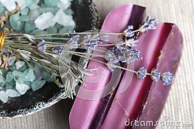 Handmade lavender soap bars bath salt