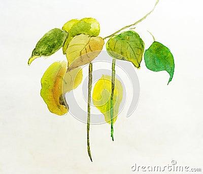 Handmade painting of leaves