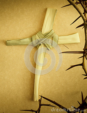 Handmade Palm Branch Cross surrounded by Crown of Thorns