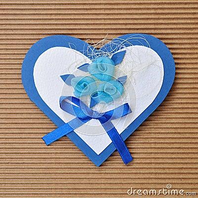 Handmade paper card love heart