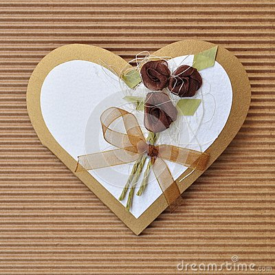 Handmade paper card love heart shape