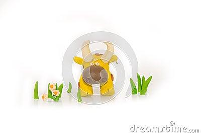 Handmade plasticine yellow bull
