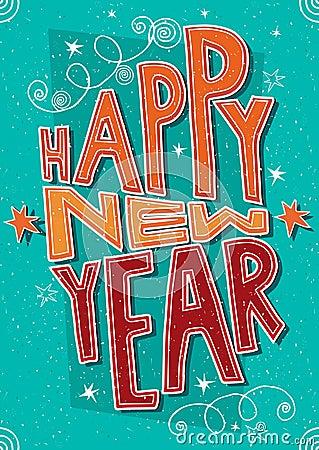 Free Handmade Postcard Happy New Year Stock Photo - 63643800