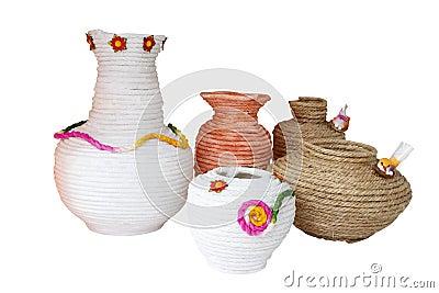 Handmade rope vases