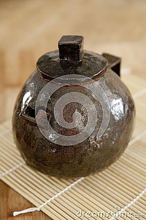Handmade rustic ceramic teapot