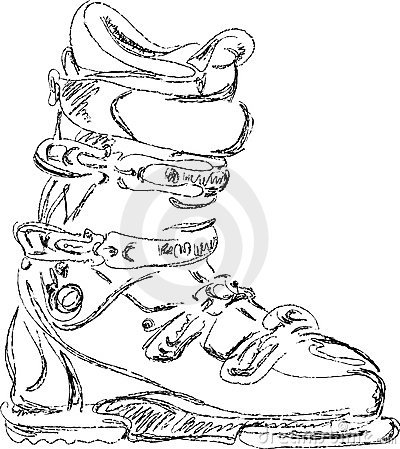 Handmade sketch of ski boot