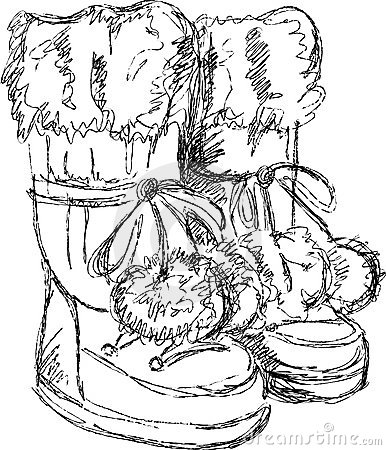 Handmade sketch of snow boots