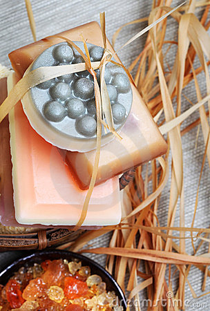 Handmade soap bars in the basket.