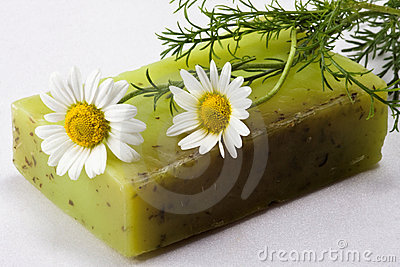 Handmade soap with chamomile