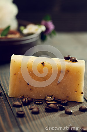Handmade soap closeup and spa products on background