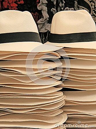 Handmade straw hats , Peru