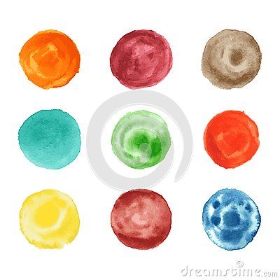 Handmade watercolor round circle style texture artwork collection Vector Illustration