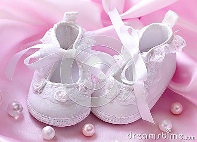 Handmade white baby booties