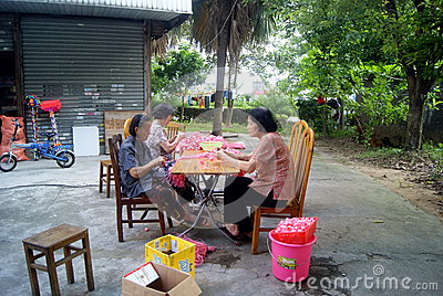 A handmade women in shenzhen, china Editorial Stock Photo