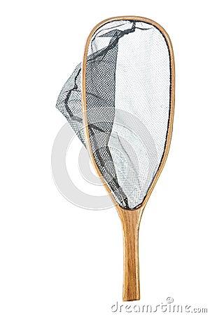 Handmade wooden flyfishing net isolated on white