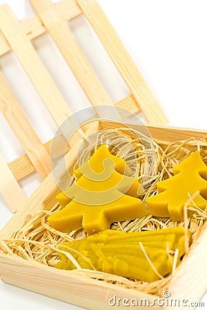 Handmade yellow christmas candles