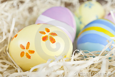 Handpainted Easter Eggs in Nest