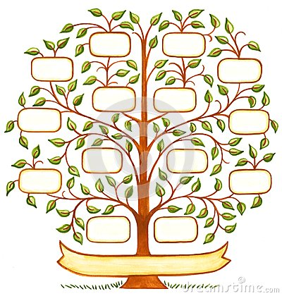 Handpainted family tree stock illustration image 45538183 for How to draw a family tree template