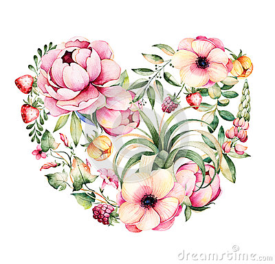 Free Handpainted Illustration.Watercolor Heart With Peony,field Bindweed,branches,lupin,air Plant,strawberry Royalty Free Stock Photo - 74304385