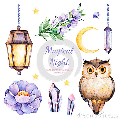 Handpainted watercolor flowers,leaves,moon and stars,night lamp,crystals and cute owl. Stock Photo