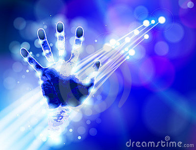 Handprint, blue technology background