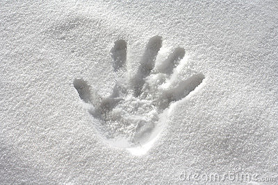 Handprint in fresh snow