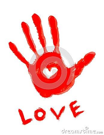 Handprint with love symbol