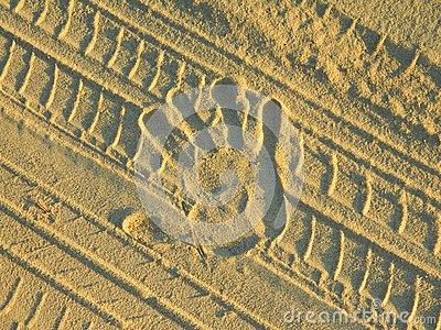 Handprint on the sand
