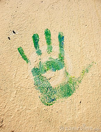 Handprint on the wall