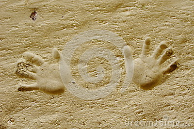 Handprints print in a sand cave, Bulgaria