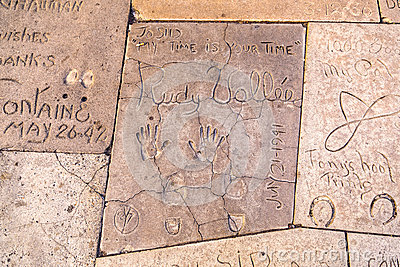 Handprints  of Rudy Vallee Editorial Image