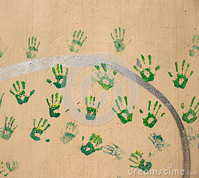 Handprints on the wall
