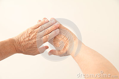 Hands of 70-year old man