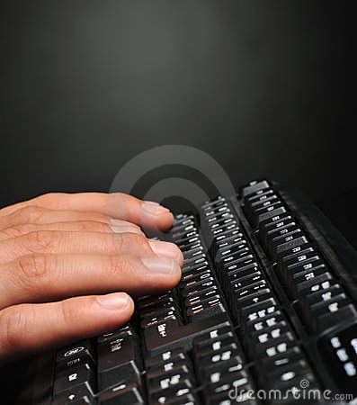 Hands above the keyboard
