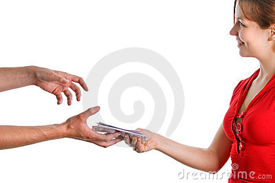 Hands accepting the money