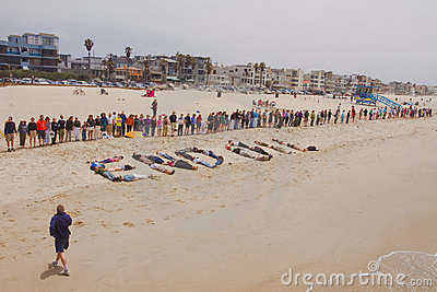 Hands Across The Sand Rally Editorial Stock Photo