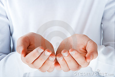 Hands in the act of presenting something