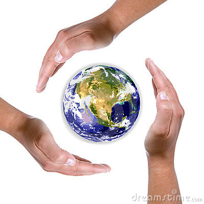 Hands around earth globe - nature and environment