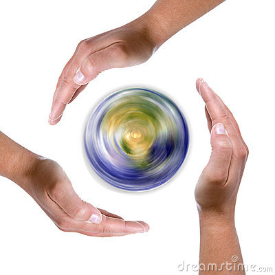 Free Hands Around Spinning Earth Globe Royalty Free Stock Images - 5347339